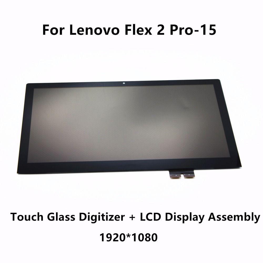 Genuine 15.6'' Touch Glass Digitizer + LCD Display Screen Assembly LP156WF4 SPL1 For Lenovo Flex 2 Pro-15 20406 20507 80FL 80K8