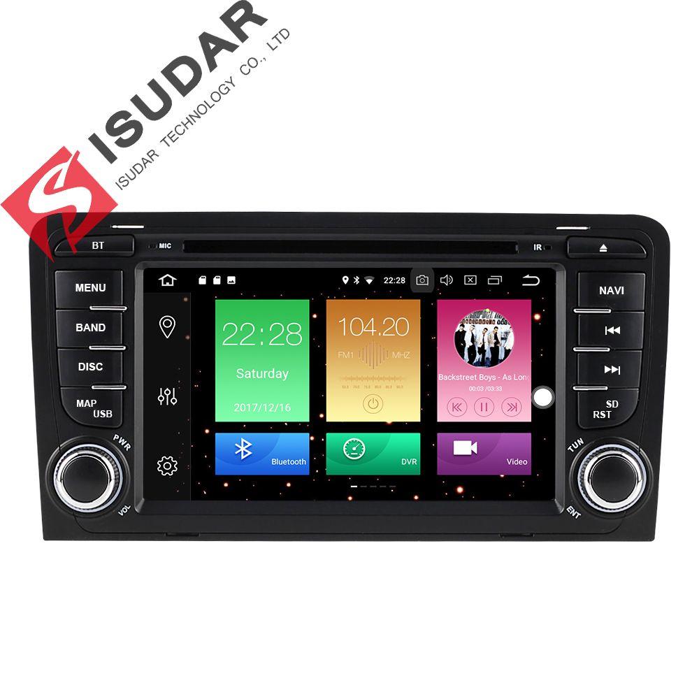 Isudar Auto Multimedia-Player 2 din Auto Radio GPS Android 8.0.0 Für A3/S3/Audi 2002-2013 Hinten ansicht Kamera Mikrofon DSP USB DVR