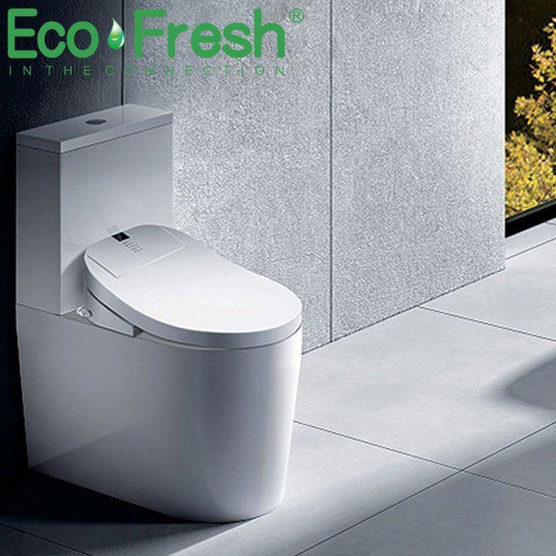 Ecofresh Smart toilet seat Washlet Elongate Electric Bidet cover heat led light wash dry massage man woman child oldman