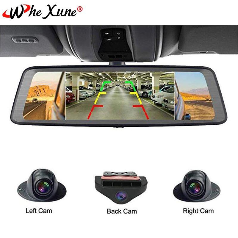 WHEXUNE 10 Touch ADAS Android 5.1 Volle 1080 P Auto Dash Cam 4G Video Recorder rückspiegel mit DVR kamera 8 Core 4 Kanal