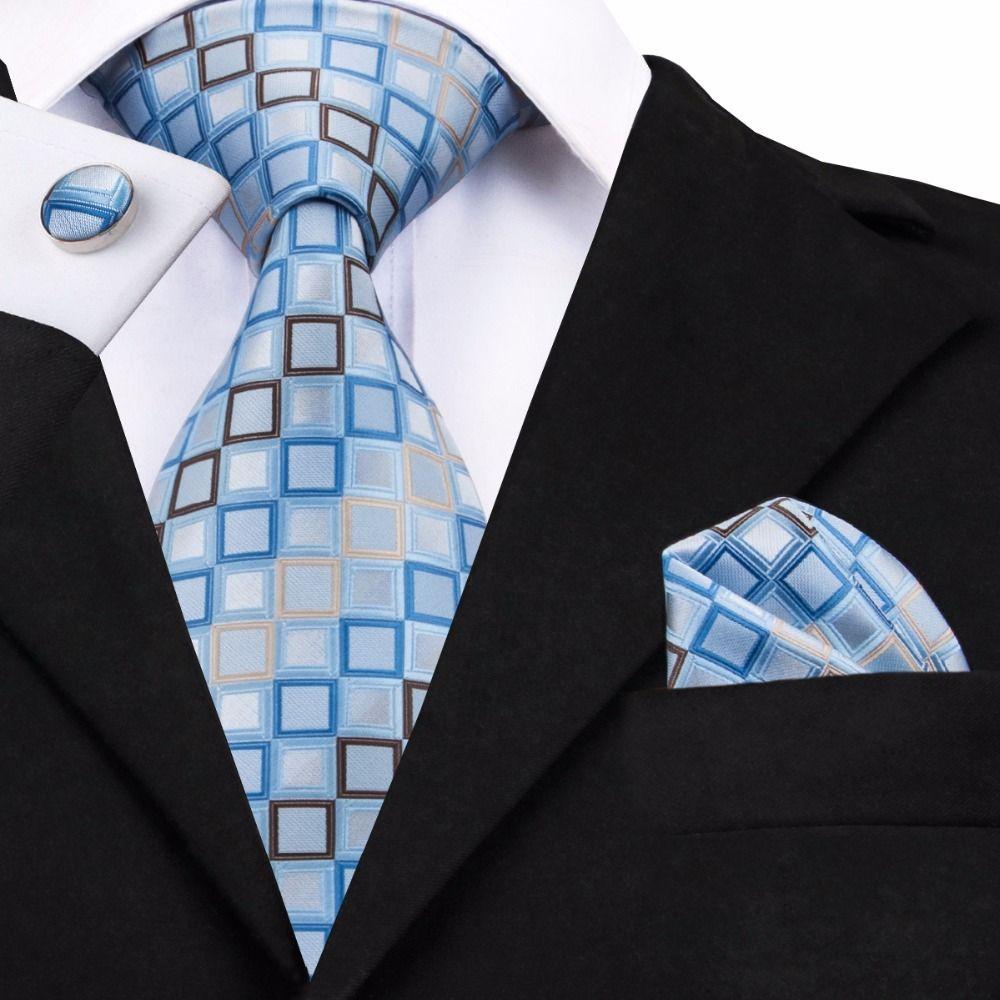 SN-1128 Bleu Jaune Géométrique Cravate Hanky Ensembles de boutons de Manchette homme 100% Cravates en soie pour hommes Formelle Fête De Mariage Marié