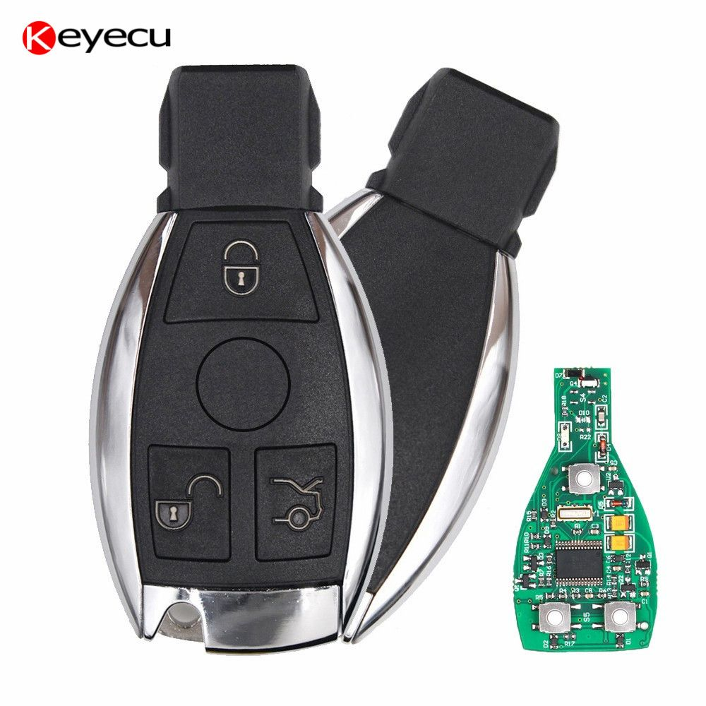 Keyecu Smart Car Key for Mercedes Benz Support NEC And BGA 2000+ Year,3 Buttons 315MHz 433MHz Auto Remote Key for Benz