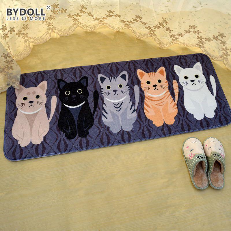 Bydoll bienvenido cat animal impreso baño cocina alfombras tapetes antideslizantes felpudos gato tapete para sala de estar tapete