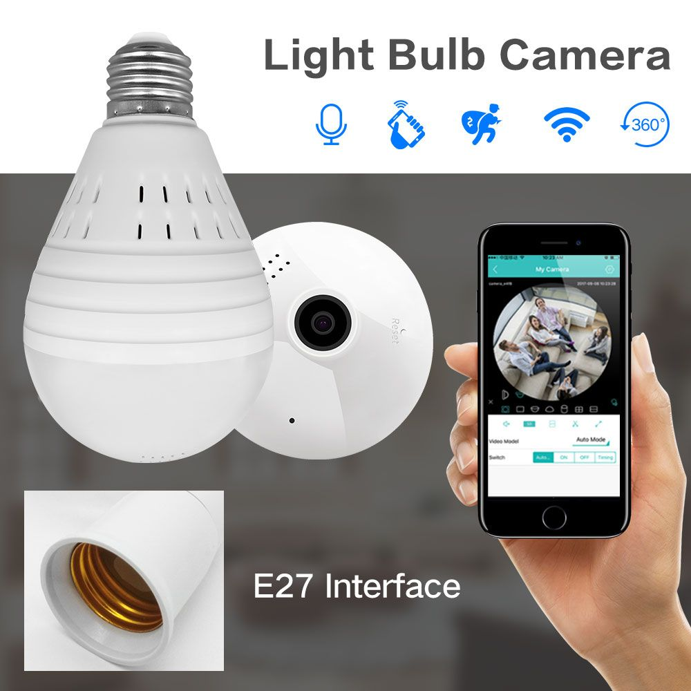 SDETER Bulb Lamp Wireless IP Camera Wifi 960P Panoramic FishEye Home Security CCTV Camera 360 <font><b>Degree</b></font> Night Vision Support 128GB