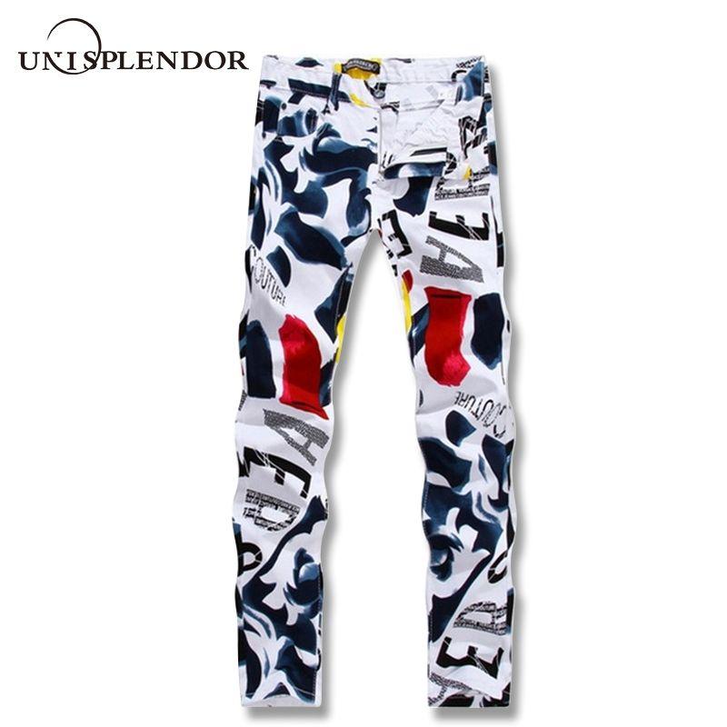 Большой Размеры 28-44 белый с принтом Для мужчин Джинсы для женщин модные мужские Уникальные Хлопковые джинсы для мужчин Для Мужчин's Повседне...