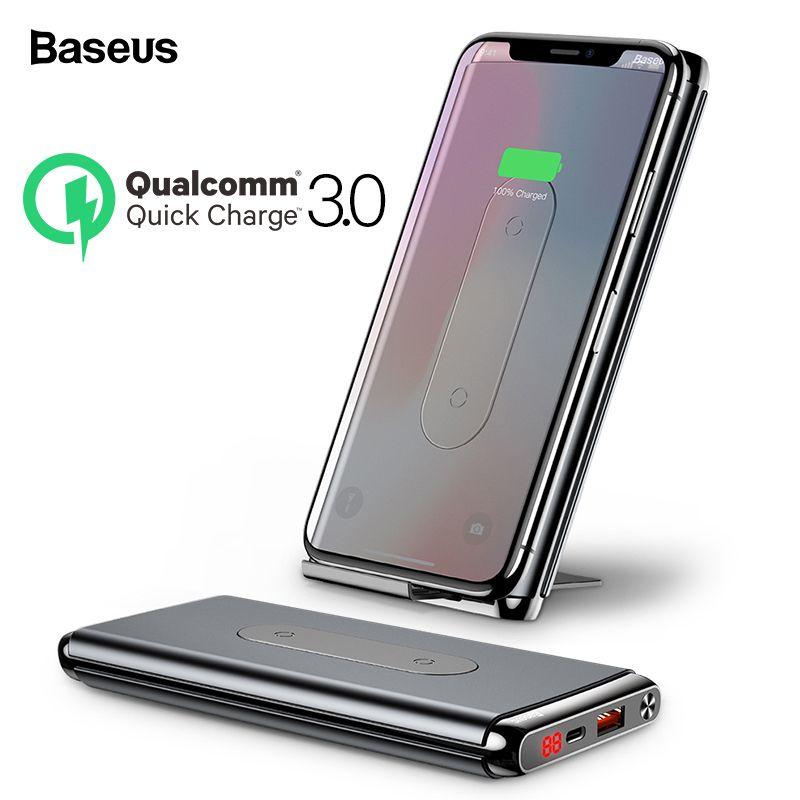 Baseus 10000 mAh Charge rapide 3.0 batterie externe Portable Qi banque d'alimentation de chargeur sans fil pour Xiao mi mi batterie externe sans fil rapide batterie externe téléphone