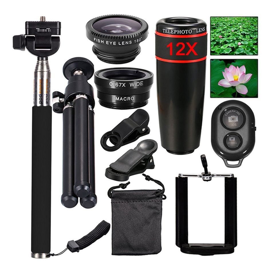 2017 Camera Lens kit 12X Zoom Telephoto Fisheye Lenses Monopod Bluetooth Shutter Tripod For iPhone and Android Cell Phone Lentes