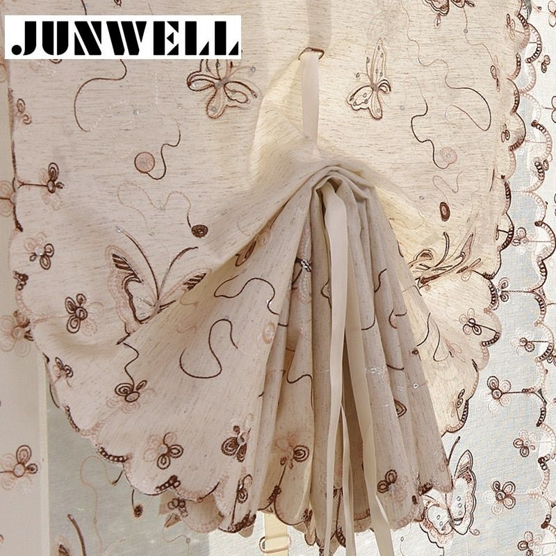 New Poly Linen Embroidery Ribbon Roman Curtain Home Wave European Kitchen Balcony Voile 1PC/lot Customerized sizes acceptable