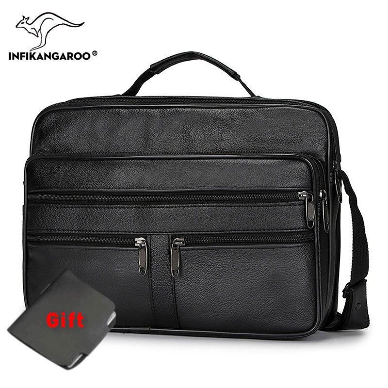 12 Inches Cow Leather Men Messenger Bags Mezzanine zip Handbags Casual Male Single Shoulder Bag Versatile Soft Crossbody Bag