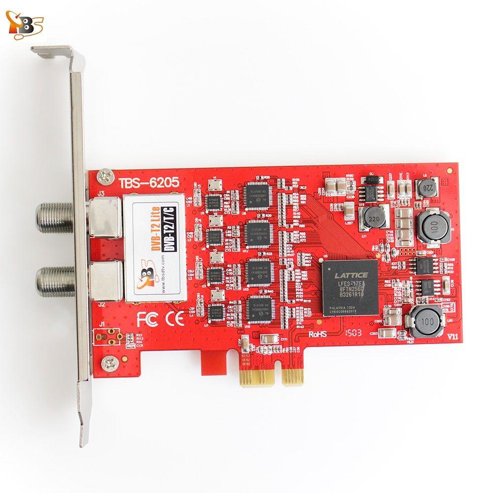 Carte PCIe de Tuner TV Quad TBS6205 DVB-T2/T/C pour regarder les chaînes SD et HD du royaume-uni sur PC