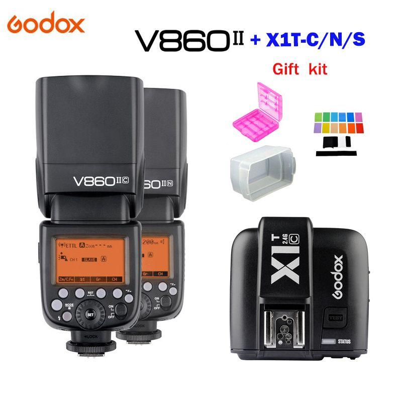 Godox V860II GN60 TTL HSS 1/8000s Speedlite Flash with Li-ion Battery + X1T-C/N/S Flash Transmitter for Canon Nikon Sony DSLR