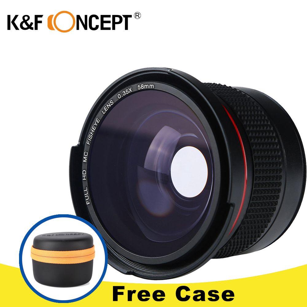 K & F CONCEPT HD 0.35x58mm/52mm Fisheye Macro Objectif Grand Angle pour Canon EOS 700D 650D 600D 550D Rebel T5i T4i T3i T2i DSLR Caméra