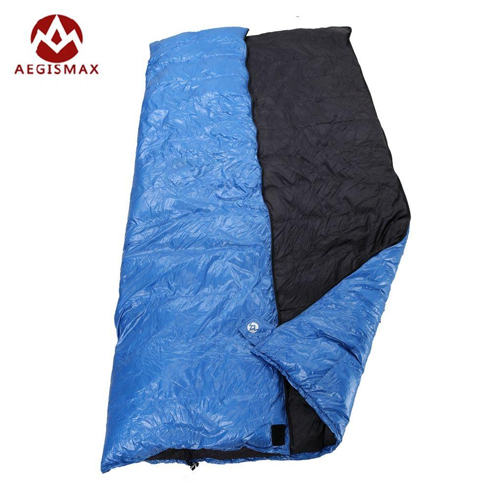 Aegismax Outdoor Envelope Sleeping Bag Splicing White Duck Down Single Sleeping Bag Camping Hiking Equipment Family Red Blue