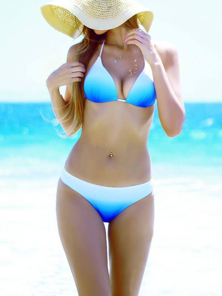 Einfache Frau Push Up Bikinis Strappy binden Bikini Frauen Halfter Badeanzug Badeanzug Sky Blue Farbverlauf
