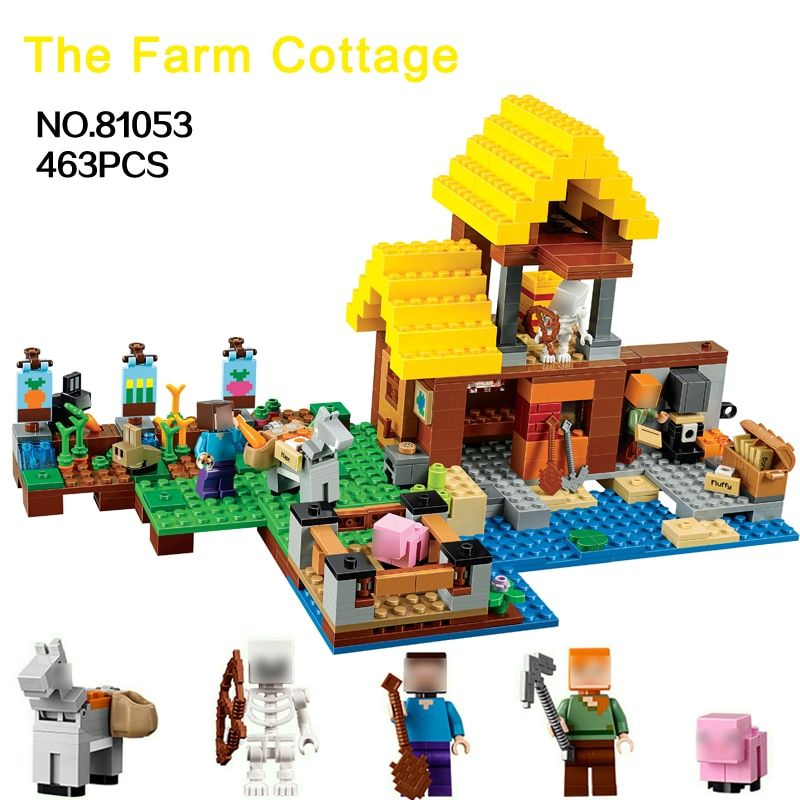463pcs Building Blocks Set Minecrafted the Farm Cottage Village Bricks Figures Compatible with 21144 Creative Toys for childrens