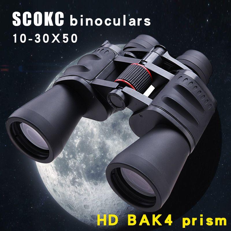 SCOKC 10-30X50 jumelles zoom de puissance pour la chasse télescope monoculaire professionnel BAK4 Porro prisme vision nocturne basse