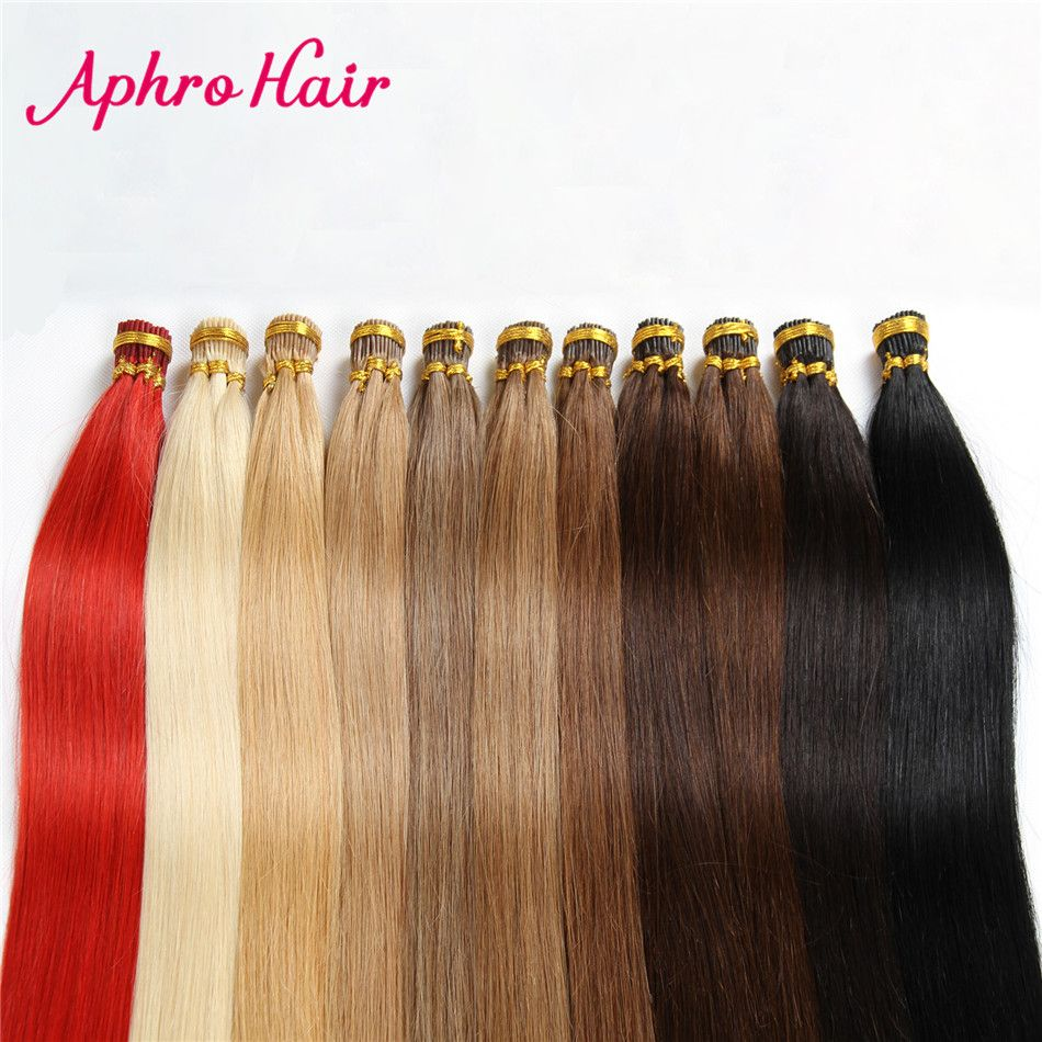Aphro Hair  Straight Hair Keratin I Tip Hair Extensions 18