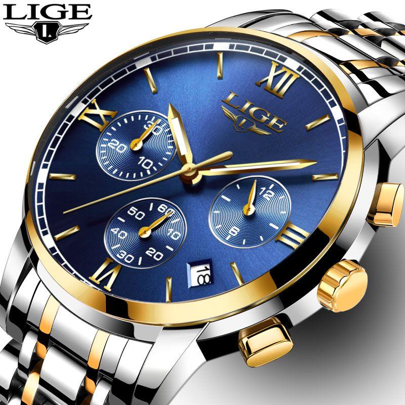 LIGE Uhren Männer Luxury Brand Fashion Business Quarz Mann uhr Sechs Pin Sport Wasserdichte Uhr uhr männer Voller Stahl Armbanduhren