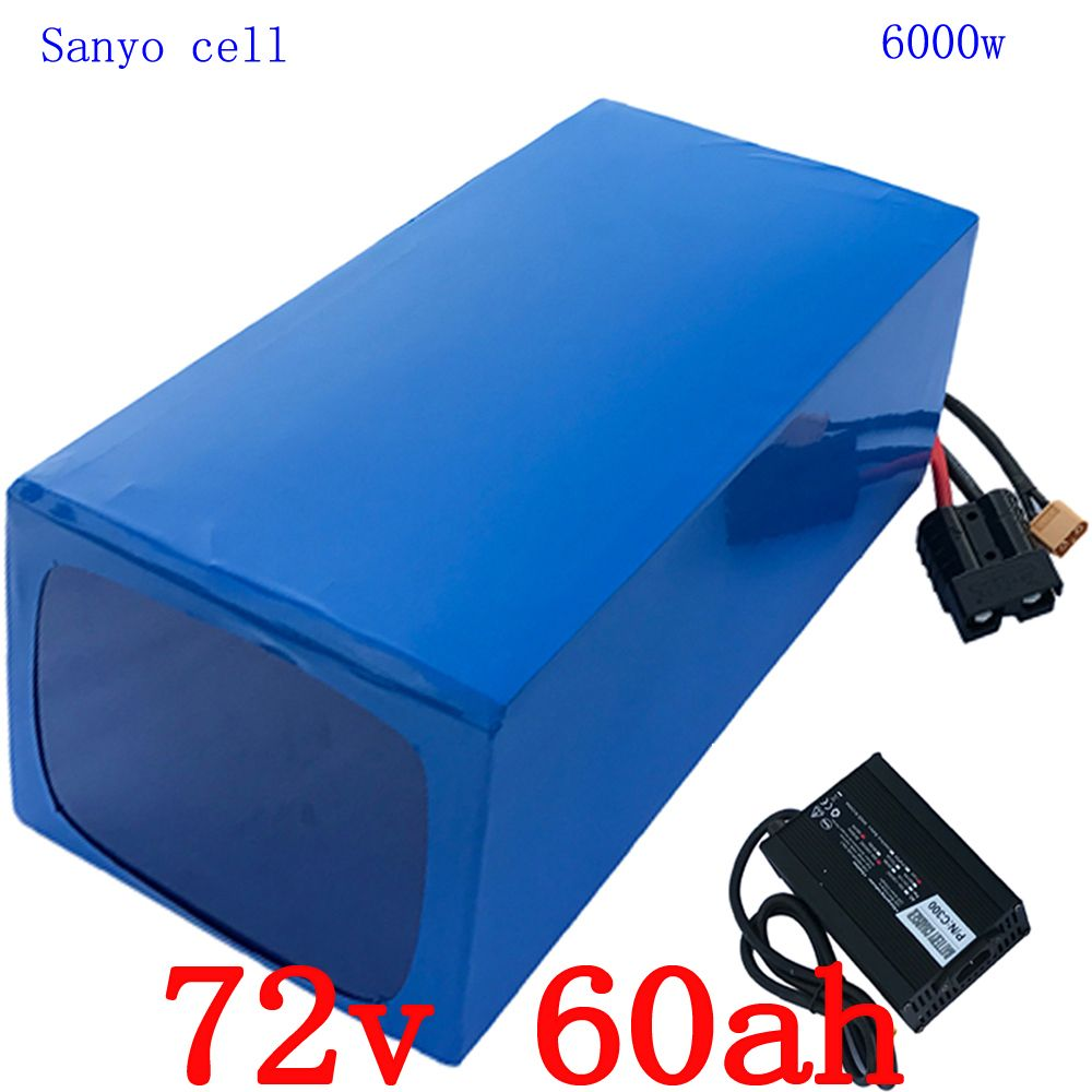 72V 6000W Lithium battery 72v 60ah Scooter Battery 72V 60AH electric bike battery use sanyo cell with 100A BMS +84V 5A charger