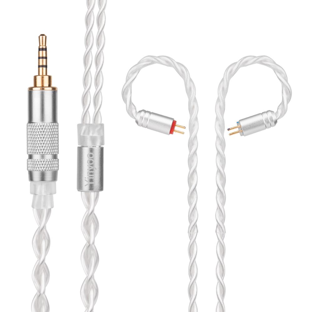 Yinyoo 7N Pure Silver Cable 2.5/3.5/4.4mm Balanced Cable With MMCX/2pin Connector For KZ ZS10 ZS6 ZS5 ZST LZ A4 A5 Sony