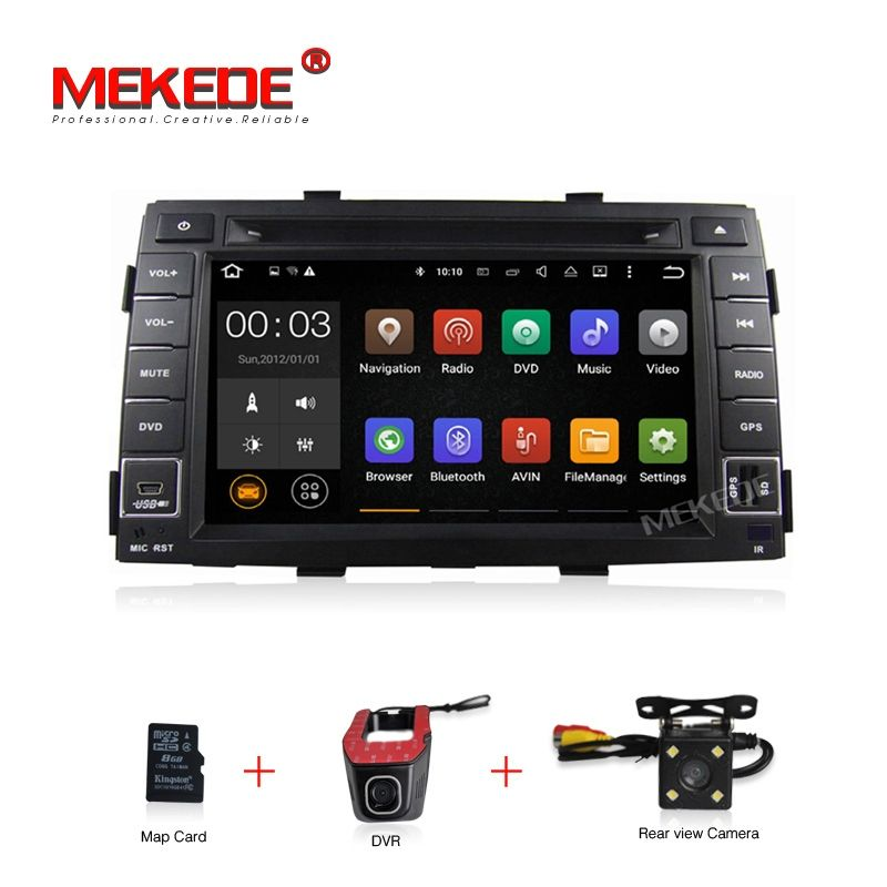 Free map 2din 4G wifi Android 7.1 car dvd radio for KIA Sorento 2010 2011 2012 support navi BT DVR camera GPS player 2GRAM OBD2