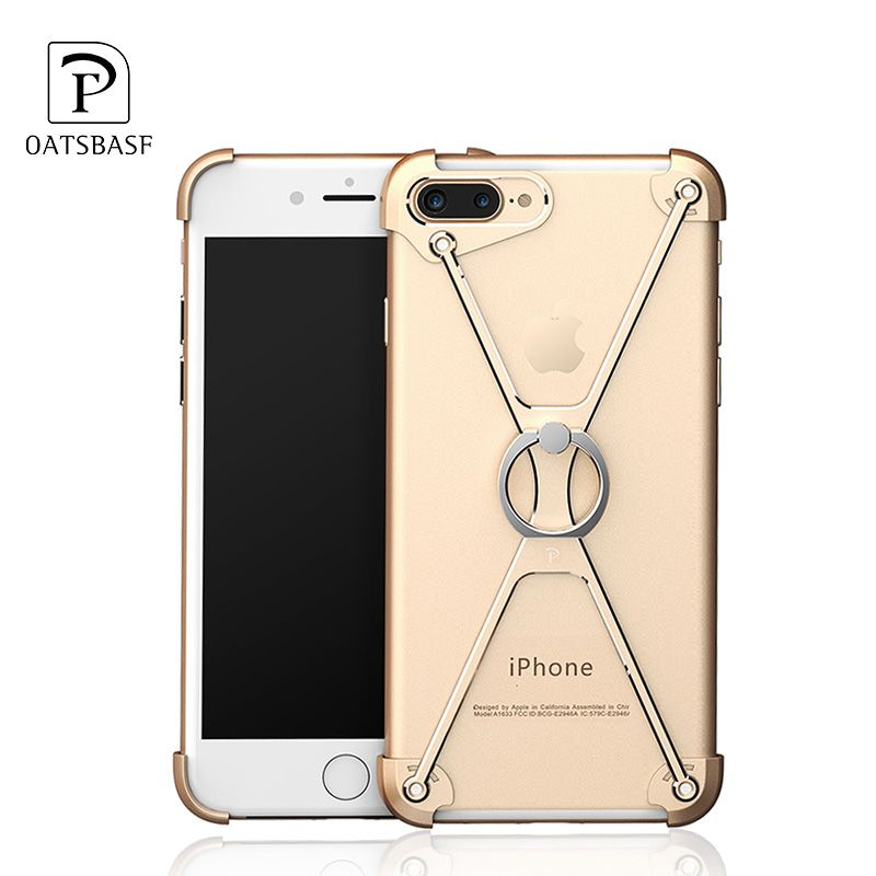 Fashion Metal Bumper Case For iPhone 8 7 6 6s Plus Luxury Aluminum Shockproof Bracket Hard Ring Holder Case For iPhone 7 8 6 6s