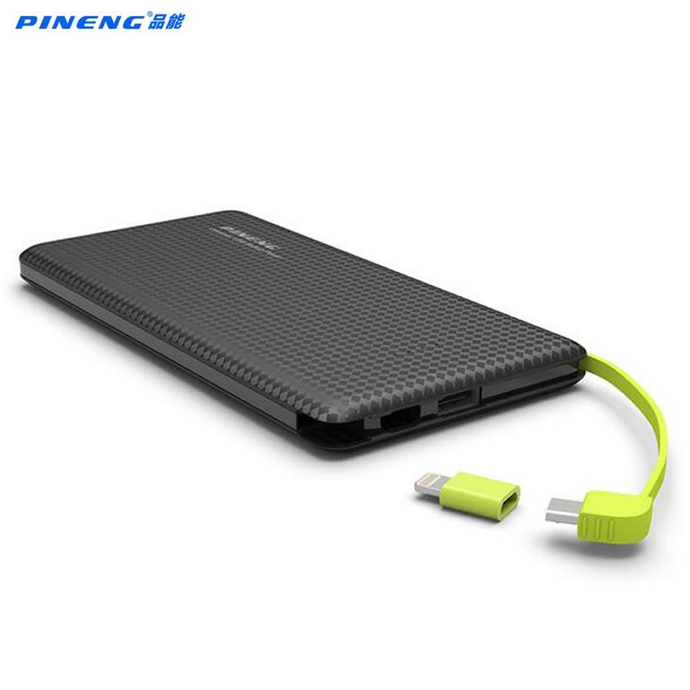 Original Pineng PN951 Power Bank 10000mAh USB Built-In Charging <font><b>Cable</b></font> External Battery Charger for iPhone8/X Samsung Xiaomi