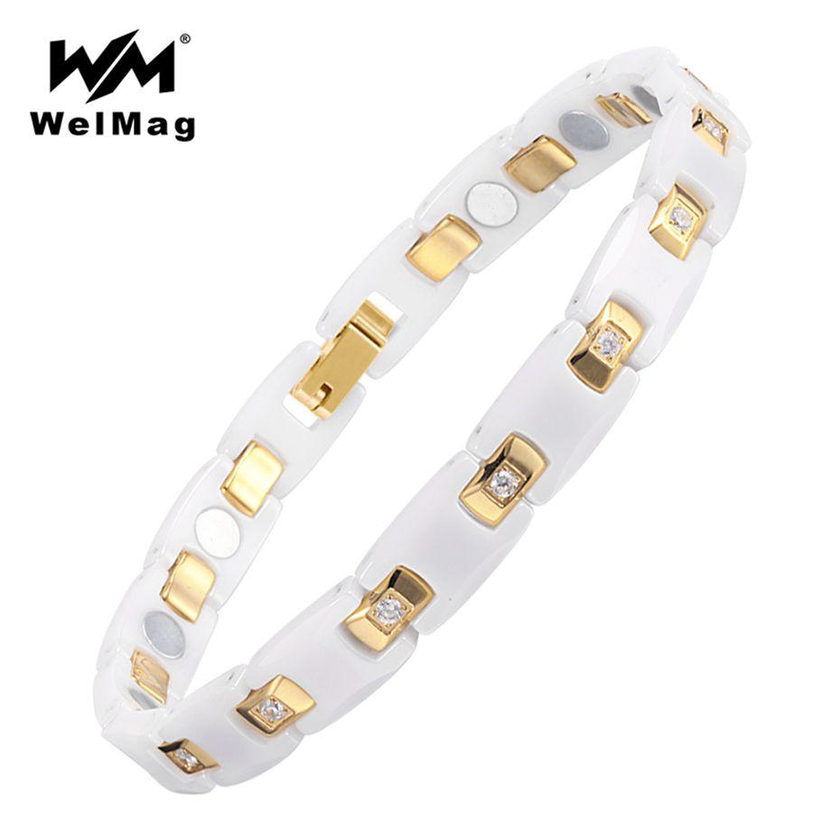 WelMag En Céramique Bracelet Magnétique Bracelet de Santé Chaîne Charmes Femmes Bijoux Bio Elements Énergie De Mode Blanc En Céramique Bracelet