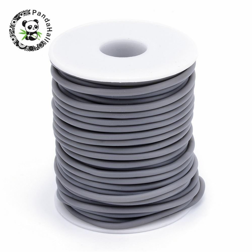 2mm 3mm Tubo Hueco Tubular PVC Cable De Goma para La Joyería Que Hace DIY Envuelto Alrededor Blanco Carrete De Plástico agujero: 1.5mm; acerca de 25 m/rollo