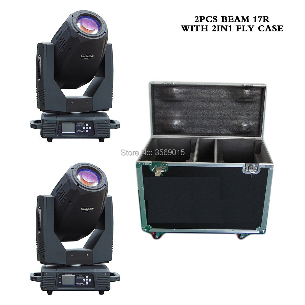 2pcs/lot BEAM 17R 350W 3IN1 Spot Wash GOBO light moving head lights super bright For Concert Light Show with 2in1 fly case