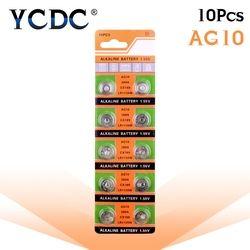 10 pcs/carte AG10 Pour Montre Jouets À Distance 189 LR54 Pile bouton Pile alcaline 1.55 V SR54 389 189 LR1130 389 SR1130 Bouton Batteries