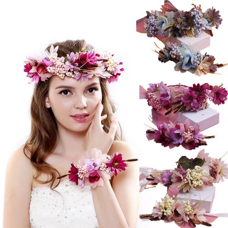 Livraison rapide femmes mariage cheveux accessoires mariée fleur couronne bandeau et poignet enfants fête fleur couronne coréenne filles guirlandes