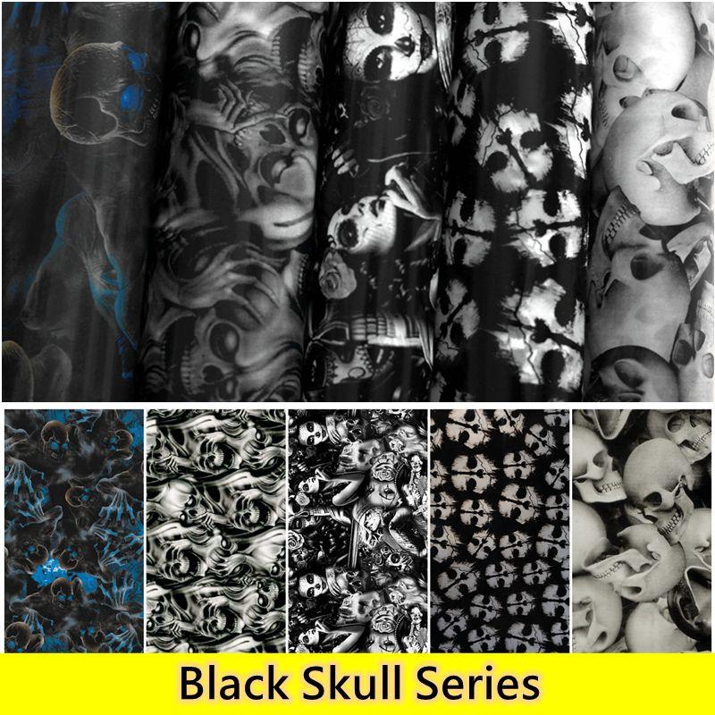 0.5 m large livraison gratuite noir crâne Film hydrogarphique transfert d'eau Film d'impression Aqua impression Films pour voiture et moto