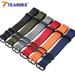 Wholesale 13 Warna Nilon Watchband NATO Zulu Strap 18 Mm 20 Mm 22 Mm 24 Mm Bergaris Rainbow kanvas Pengganti