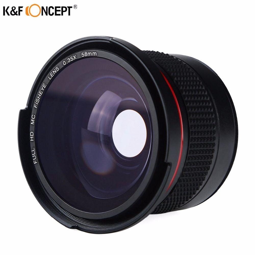 K & F CONCEPT 2in1 58mm 0.35x Fisheye Grand Angle Macro Objectif de la Caméra Pour Canon EOS 700D 650D 600D 550D1100D Rebel T5i T4i T3i T3 T2i