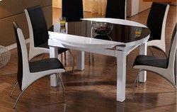 Lipat fungsi skala meja makan meja dan kursi kombinasi dikeraskan kaca kayu solid putaran meja makan