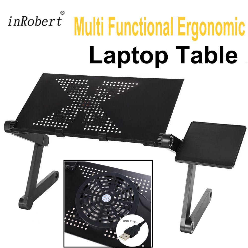 Multi <font><b>Functional</b></font> Ergonomic Foldable Laptop Stand Come With USB Fan and Mouse Pad Portable Laptop Mesa Notebook Table For Bed