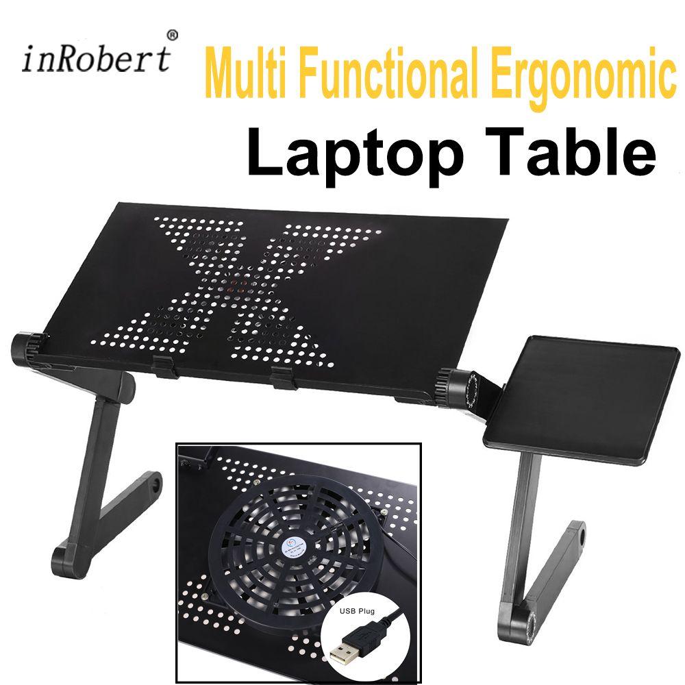 Support pour ordinateur portable pliable ergonomique multifonctionnel avec ventilateur USB et tapis de souris ordinateur portable Mesa Table pour ordinateur portable pour lit