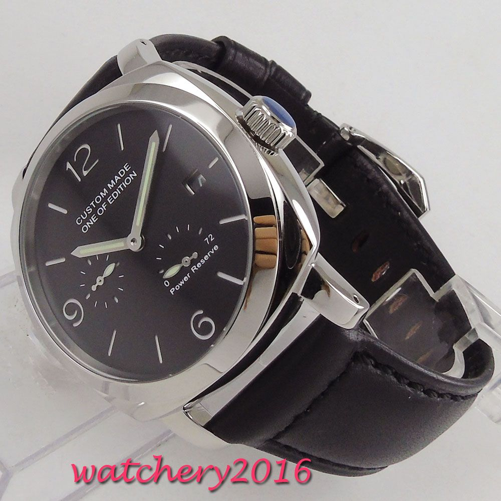 NEW Arrive 44mm PARNIS Black Dial Power Reserve Indicator Steel Case Luminous Date Luxury Brand Automatic Movement men's Watch