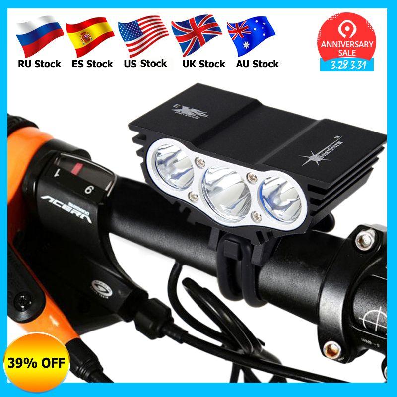 Lampe de vélo étanche 3xT6 led Avant phare de vélo 4 Modes Sécurité Nuit lampe de vélo + batterie rechargeable Pack + Chargeur