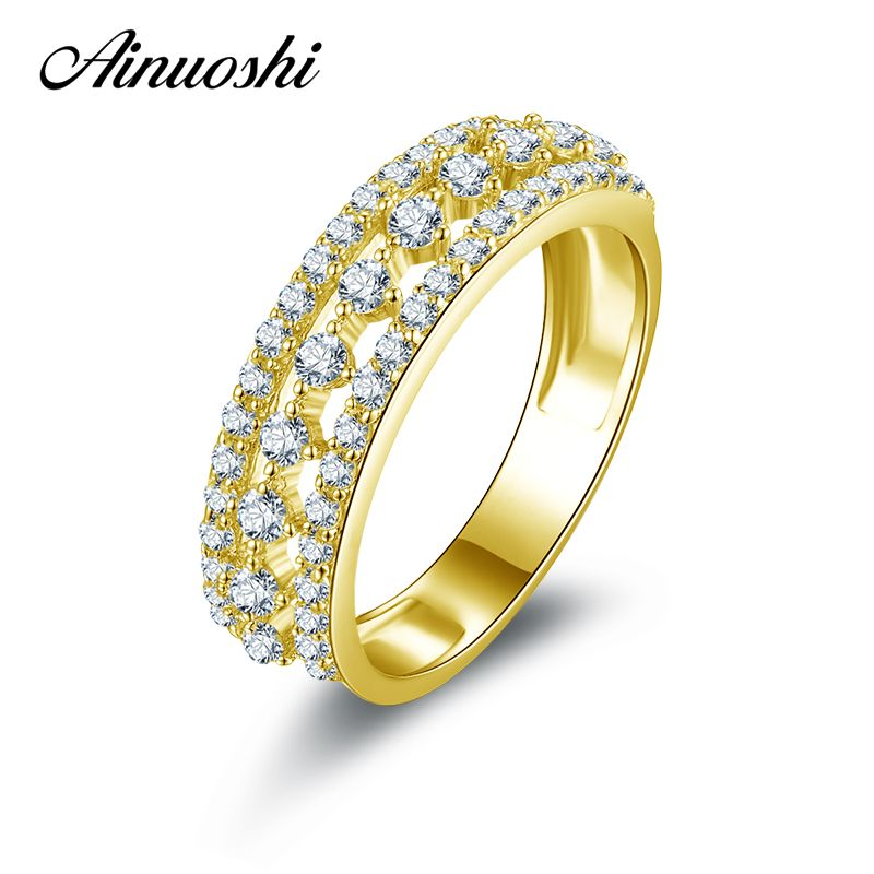 AINUOSHI 10k Solid Yellow Gold Wedding Rings 3 Rows Drill Hallow Simulated Diamond Jewelry Lovers Anniversary Gift Ring Bijoux