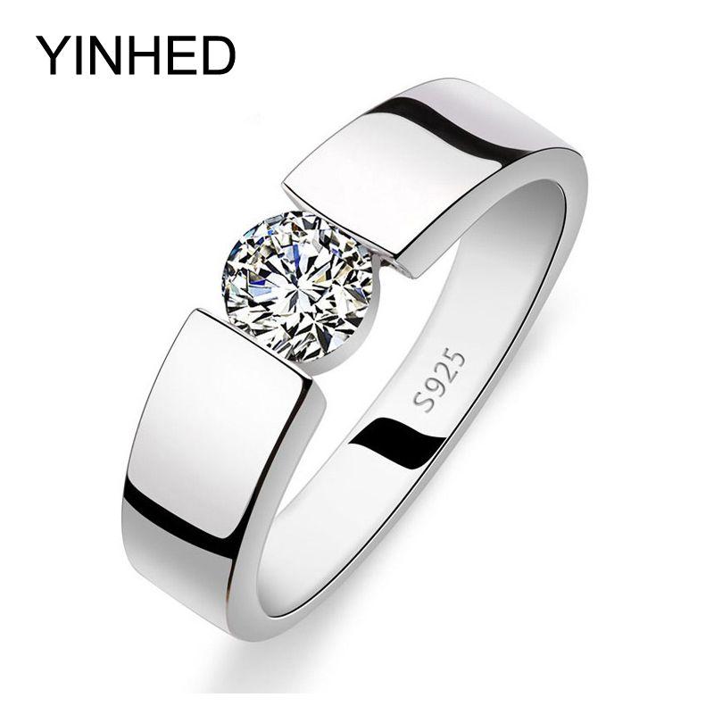 YINHED Hochzeit Ringe für Männer und Frauen Echt 925 Sterling silber Ring 1 Karat CZ Diamant Kristall Schmuck Fingerring ZRD10