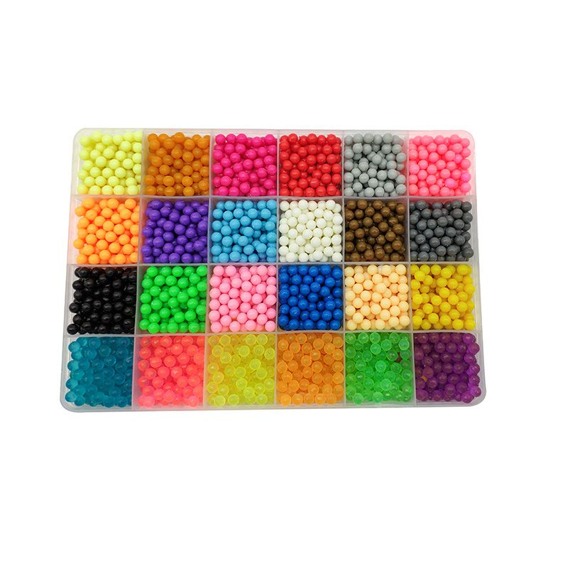 6000pcs 24 colors Refill AquaBeads puzzle Crystal Aqua DIY water spray  beads set ball games 3D handmade magic toys for children