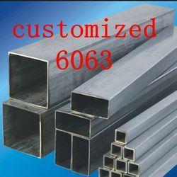 6063-T52 Personnalisé En Aluminium Rectanggular Tube, Al tuyau Carré