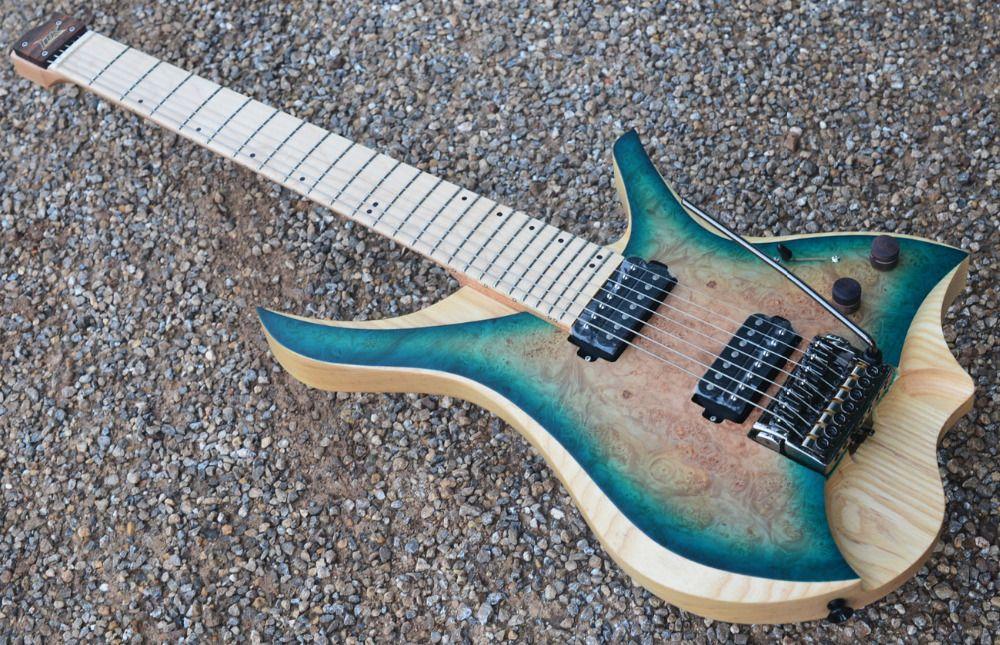 7 saiten Headless E-gitarre stil blau burst spalted lockiges maple top Flamme ahorn Hals auf lager freies verschiffen