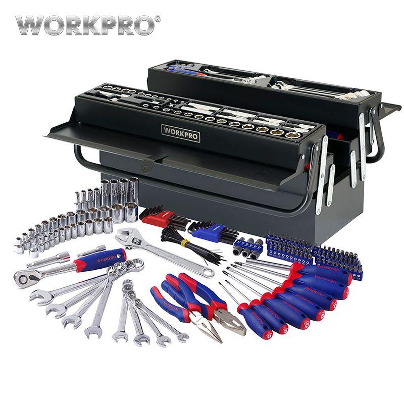 WORKPRO 183PC Tool Set Home Tools <font><b>Metal</b></font> Tool Box Set Repair Tool Kits Screwdriver Set Socket Set