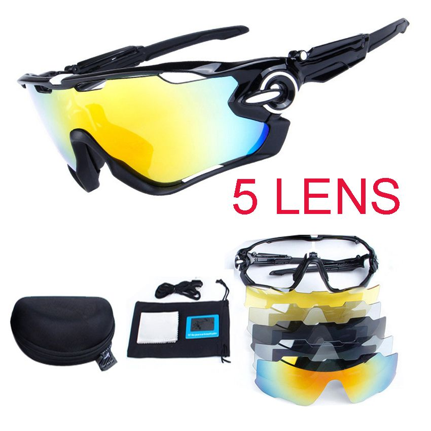 Unisex 5Lens Polarized Cycling Eyewear UV400 Bike Glasses Cycling Sport glasses MTB Bicycle Sunglasses Driving Fishing Glasses