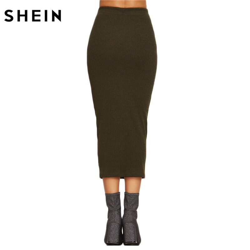 SHEIN Spring Womens Long Skirts Fashions Famous Brand Elegant Style Tight Skirts Olive Green Ribbed Knit Pencil Skirt