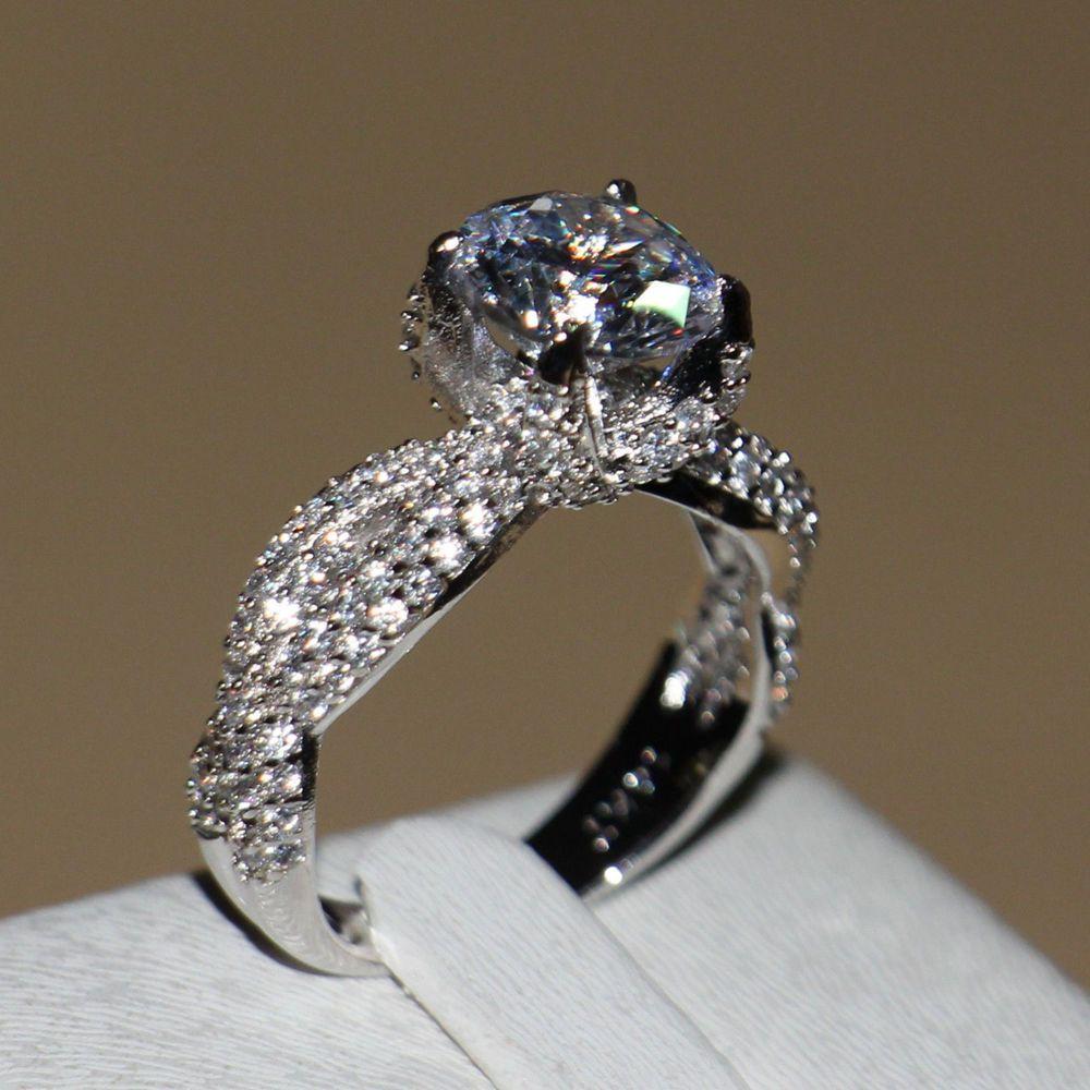 Größe 5-11 Victoria wieck Luxus schmuck 132 stücke Voll AAA CZ Luxus Schmuck weißes gold füllte Simulierte steine hochzeit Frauen Ring