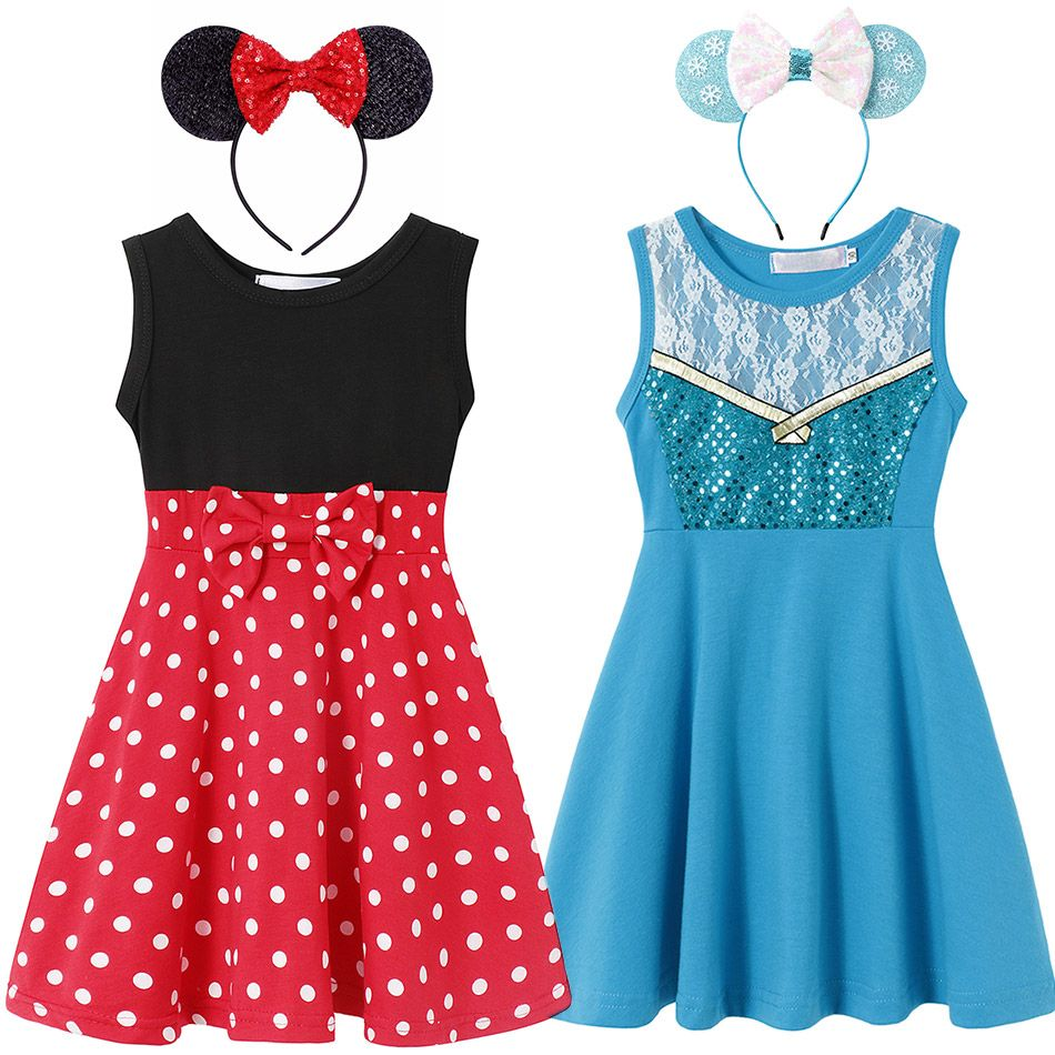 Toy Story Jessie Cosplay Princess Elsa Snow Queen Dress for Girl 2 4 6 8 10T Cotton Summer Minnie Clothes Kids Trip Casual Frock